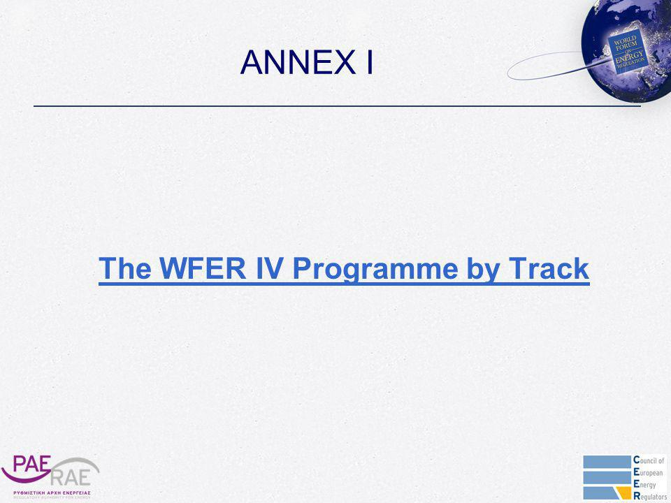 ANNEX I The WFER IV Programme by Track