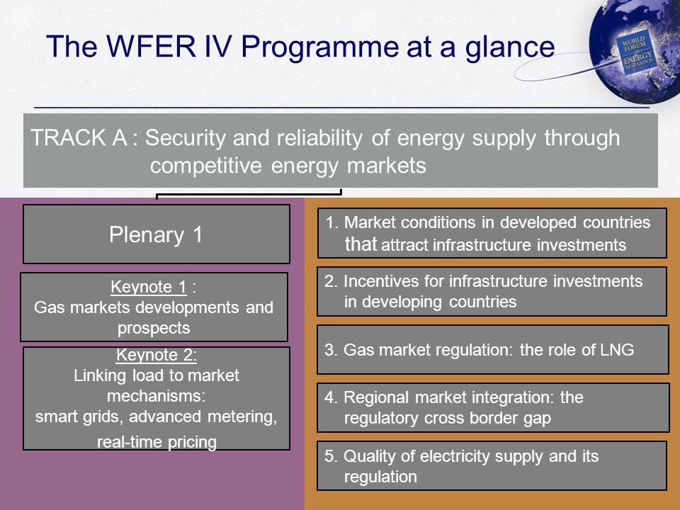 The WFER IV Programme at a glance TRACK A : Security and reliability of energy supply through competitive energy markets Plenary 1 Keynote 1 : Gas markets developments and prospects Keynote 2: Linking load to market mechanisms: smart grids, advanced metering, real-time pricing 1.