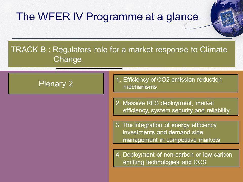 The WFER IV Programme at a glance Plenary 2 1. Efficiency of CO2 emission reduction mechanisms 2.