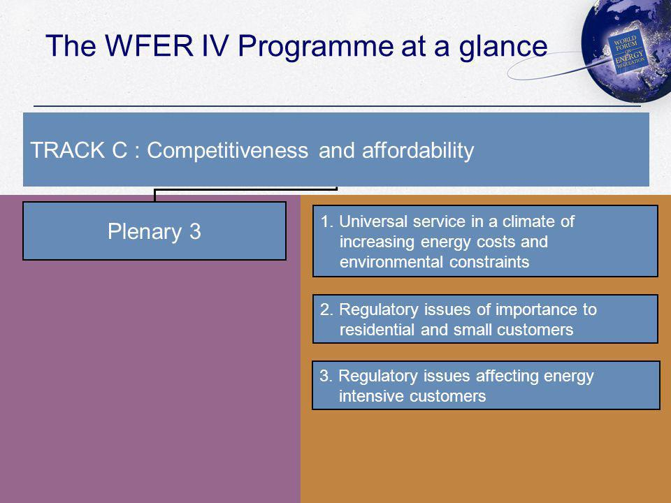 The WFER IV Programme at a glance Plenary 3 1.
