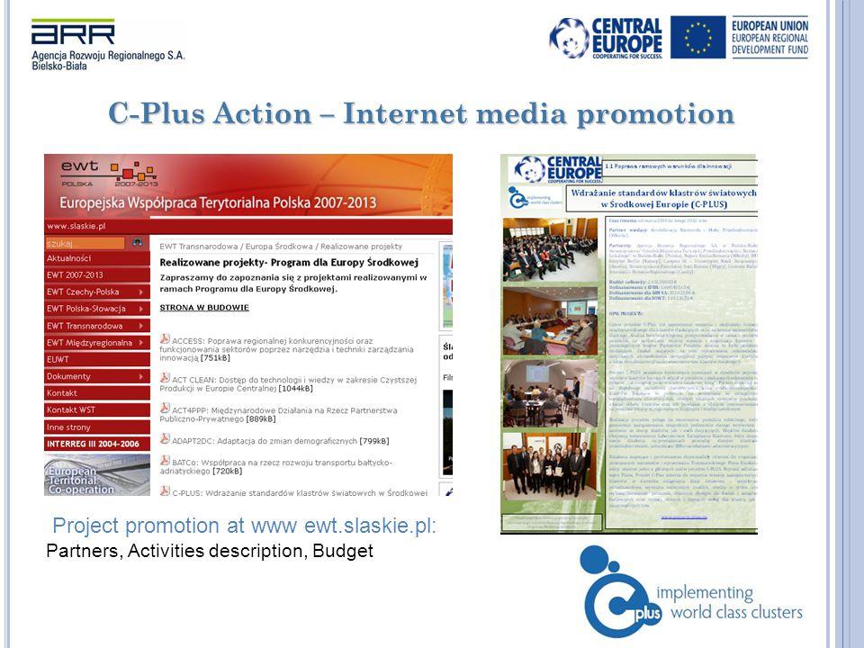 C-Plus Action – Internet media promotion Project promotion at www ewt.slaskie.pl: Partners, Activities description, Budget