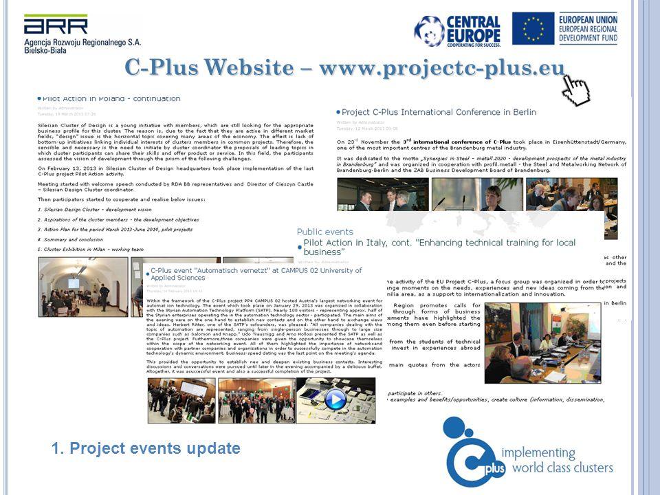 C-Plus Website – www.projectc-plus.eu 1. Project events update