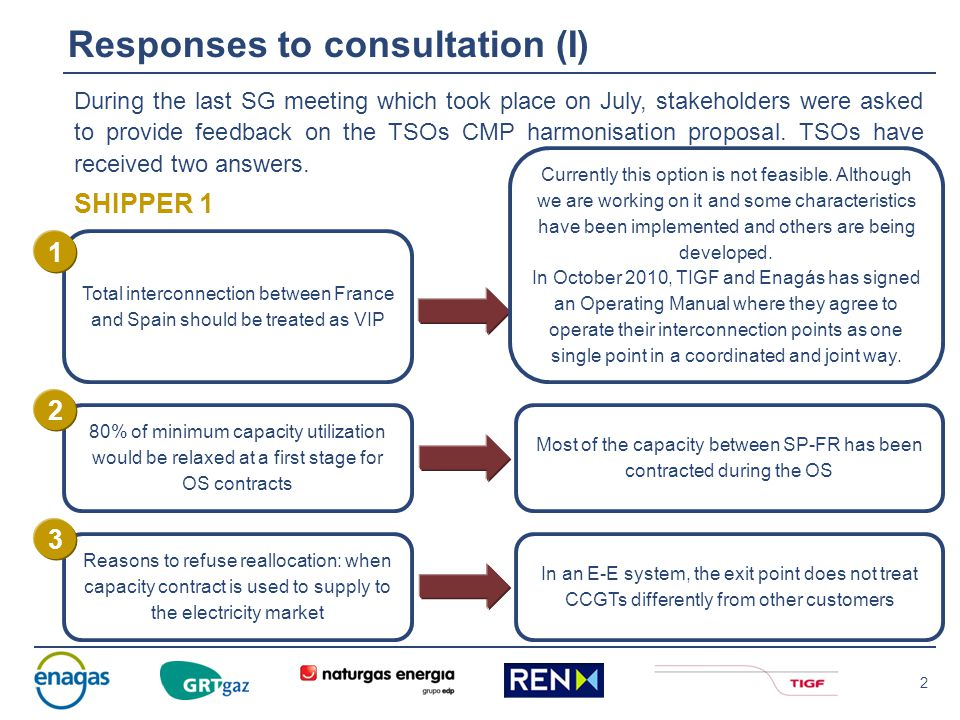 2 Responses to consultation (I) During the last SG meeting which took place on July, stakeholders were asked to provide feedback on the TSOs CMP harmonisation proposal.
