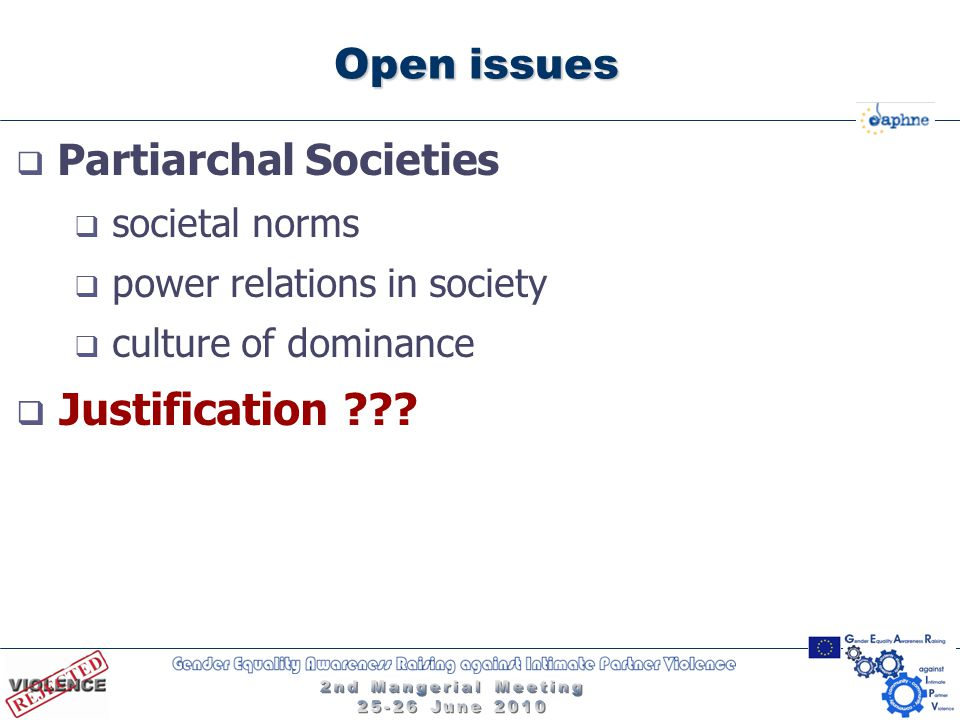 Open issues  Partiarchal Societies  societal norms  power relations in society  culture of dominance  Justification ???