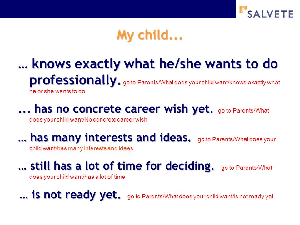 My child... … knows exactly what he/she wants to do professionally. … knows exactly what he/she wants to do professionally. go to Parents/What does yo
