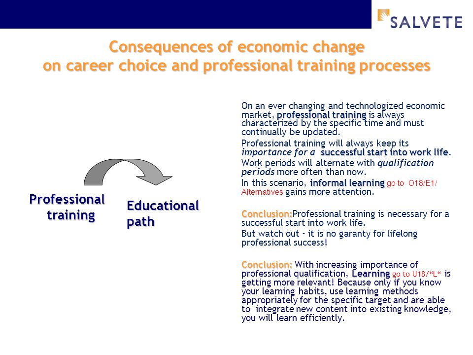 Consequences of economic change on career choice and professional training processes professional training On an ever changing and technologized econo