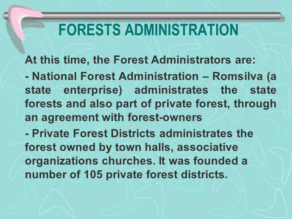 FORESTS ADMINISTRATION At this time, the Forest Administrators are: - National Forest Administration – Romsilva (a state enterprise) administrates the