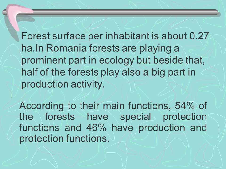 Forest surface per inhabitant is about 0.27 ha.In Romania forests are playing a prominent part in ecology but beside that, half of the forests play al