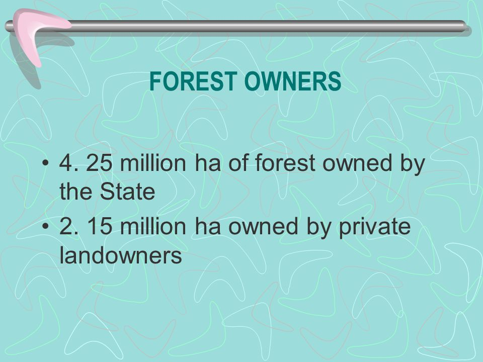 FOREST OWNERS 4. 25 million ha of forest owned by the State 2. 15 million ha owned by private landowners