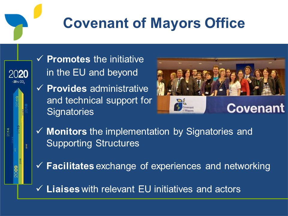 Covenant of Mayors Office Promotes the initiative in the EU and beyond Provides administrative and technical support for Signatories Monitors the implementation by Signatories and Supporting Structures Facilitates exchange of experiences and networking Liaises with relevant EU initiatives and actors