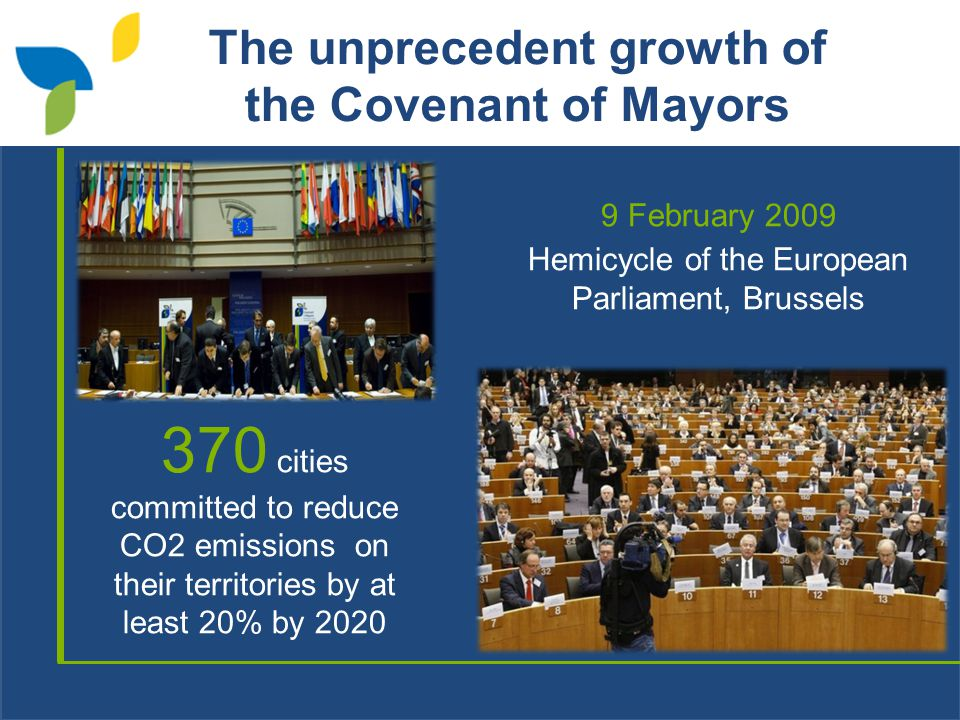 The unprecedent growth of the Covenant of Mayors 9 February 2009 Hemicycle of the European Parliament, Brussels 370 cities committed to reduce CO2 emissions on their territories by at least 20% by 2020