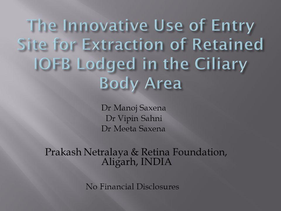 Dr Manoj Saxena Dr Vipin Sahni Dr Meeta Saxena Prakash Netralaya & Retina Foundation, Aligarh, INDIA No Financial Disclosures