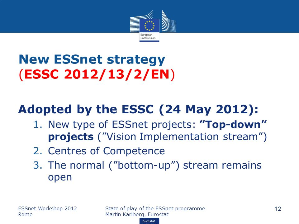 "Eurostat New ESSnet strategy (ESSC 2012/13/2/EN) Adopted by the ESSC (24 May 2012): 1.New type of ESSnet projects: ""Top-down"" projects (""Vision Implem"