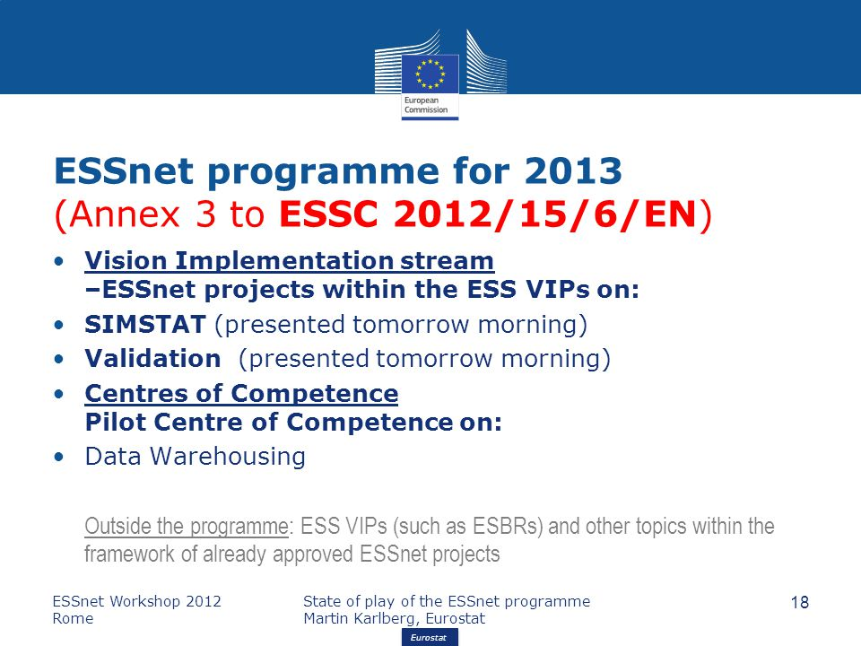 Eurostat ESSnet programme for 2013 (Annex 3 to ESSC 2012/15/6/EN) Vision Implementation stream –ESSnet projects within the ESS VIPs on: SIMSTAT (presented tomorrow morning) Validation (presented tomorrow morning) Centres of Competence Pilot Centre of Competence on: Data Warehousing Outside the programme: ESS VIPs (such as ESBRs) and other topics within the framework of already approved ESSnet projects ESSnet Workshop 2012 Rome State of play of the ESSnet programme Martin Karlberg, Eurostat 18