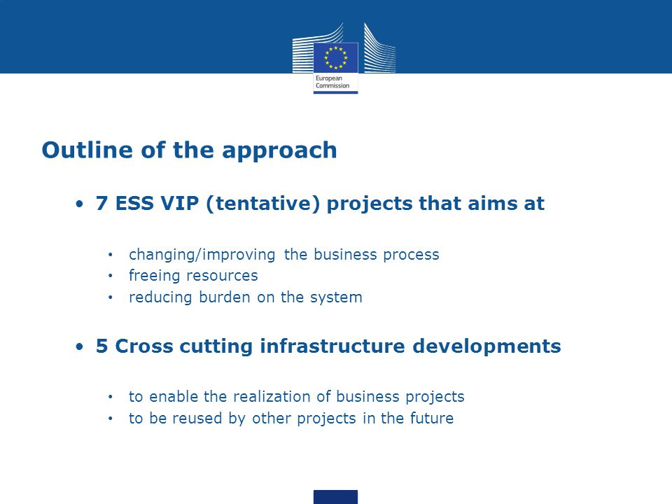 Outline of the approach 7 ESS VIP (tentative) projects that aims at changing/improving the business process freeing resources reducing burden on the s