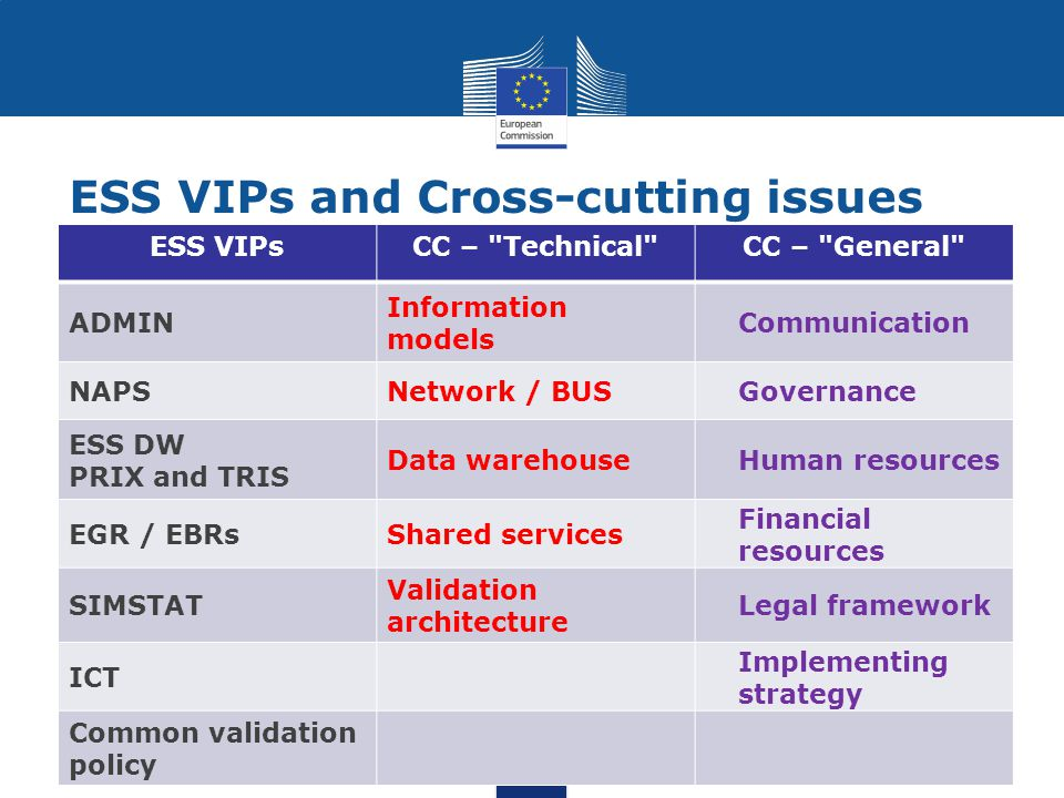 ESS VIPsCC – Technical CC – General ADMIN Information models Communication NAPSNetwork / BUSGovernance ESS DW PRIX and TRIS Data warehouseHuman resources EGR / EBRsShared services Financial resources SIMSTAT Validation architecture Legal framework ICT Implementing strategy Common validation policy ESS VIPs and Cross-cutting issues