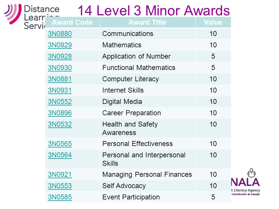 12 Level 2 Minor Awards Award CodeAward TitleValue M2C01Reading5 M2C02Writing5 M2C03Listening and Speaking5 M2L12Personal Decision Making5 M2L13Settin