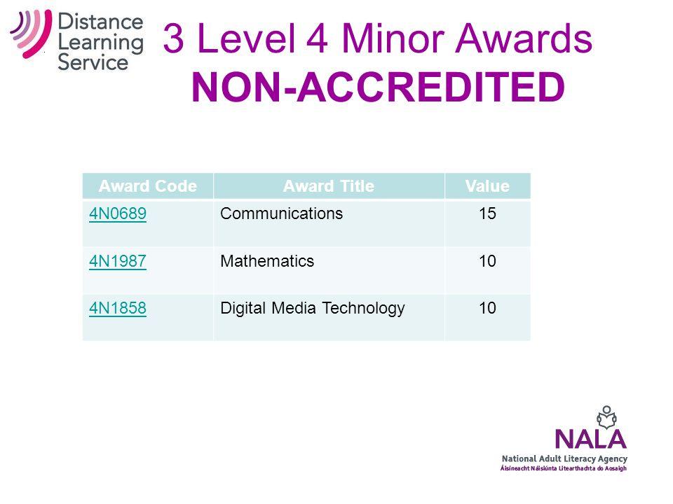 14 Level 3 Minor Awards Award CodeAward TitleValue 3N0880Communications10 3N0929Mathematics10 3N0928Application of Number5 3N0930Functional Mathematics5 3N0881Computer Literacy10 3N0931Internet Skills10 3N0552Digital Media10 3N0896Career Preparation10 3N0532Health and Safety Awareness 10 3N0565Personal Effectiveness10 3N0564Personal and Interpersonal Skills 10 3N0921Managing Personal Finances10 3N0553Self Advocacy10 3N0585Event Participation5