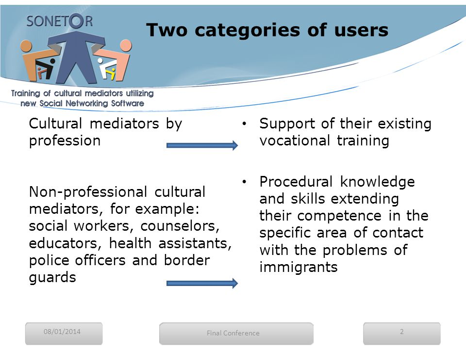 Two categories of users Support of their existing vocational training Procedural knowledge and skills extending their competence in the specific area of contact with the problems of immigrants 08/01/20142 Cultural mediators by profession Non-professional cultural mediators, for example: social workers, counselors, educators, health assistants, police officers and border guards Final Conference