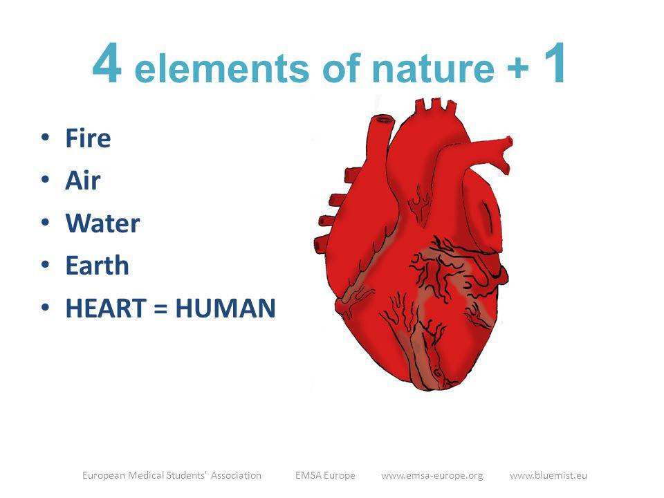 Fire Air Water Earth HEART = HUMAN European Medical Students Association EMSA Europe www.emsa-europe.org www.bluemist.eu 4 elements of nature + 1