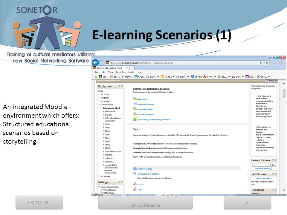The scenarios consisted of episodes and each episode is based on learning outcomes 08/01/20146 Final Conference E-learning Scenarios (2)