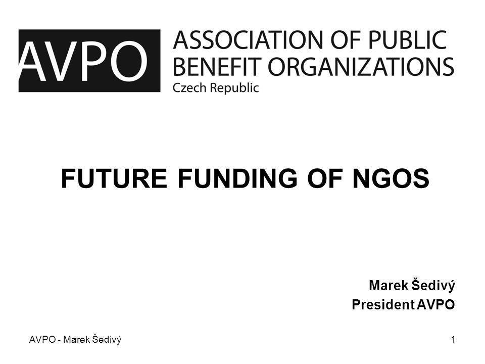 FUTURE FUNDING OF NGOS Marek Šedivý President AVPO AVPO - Marek Šedivý1