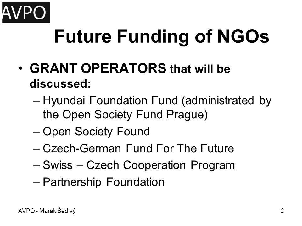 Future Funding of NGOs GRANT OPERATORS that will be discussed: –Hyundai Foundation Fund (administrated by the Open Society Fund Prague) –Open Society
