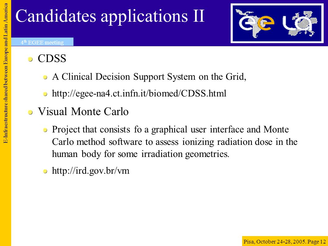 Candidates applications II CDSS A Clinical Decision Support System on the Grid, http://egee-na4.ct.infn.it/biomed/CDSS.html Visual Monte Carlo Project that consists fo a graphical user interface and Monte Carlo method software to assess ionizing radiation dose in the human body for some irradiation geometries.
