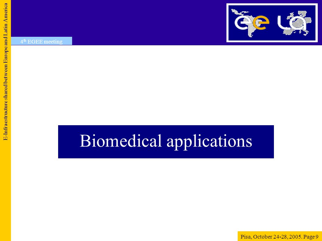 Biomedical applications E-Infraestructure shared between Europe and Latin America Pisa, October 24-28, 2005.