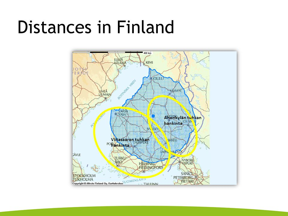 Distances in Finland Ahonkylän tuhkan hankinta Viitasaaren tuhkan hankinta