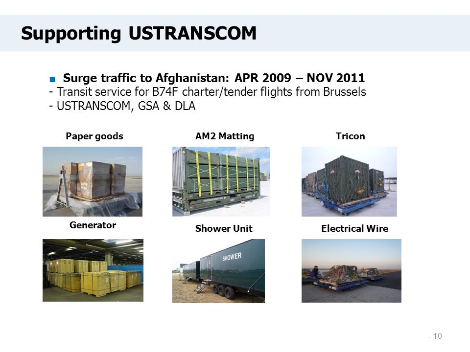 Paper goodsAM2 MattingTricon Generator Shower UnitElectrical Wire - 10 Supporting USTRANSCOM ■ Surge traffic to Afghanistan: APR 2009 – NOV 2011 - Tra