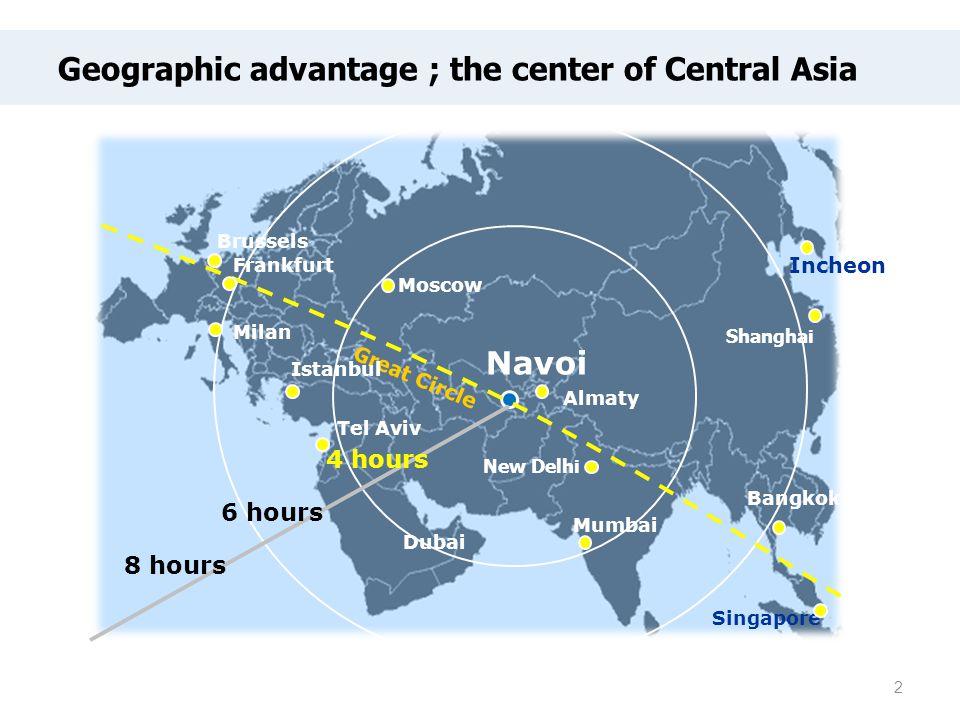 Great Circle 4 hours 6 hours 8 hours Frankfurt Milan Brussels Moscow Navoi New Delhi Dubai Mumbai Singapore Bangkok Shanghai Incheon Tel Aviv Istanbul