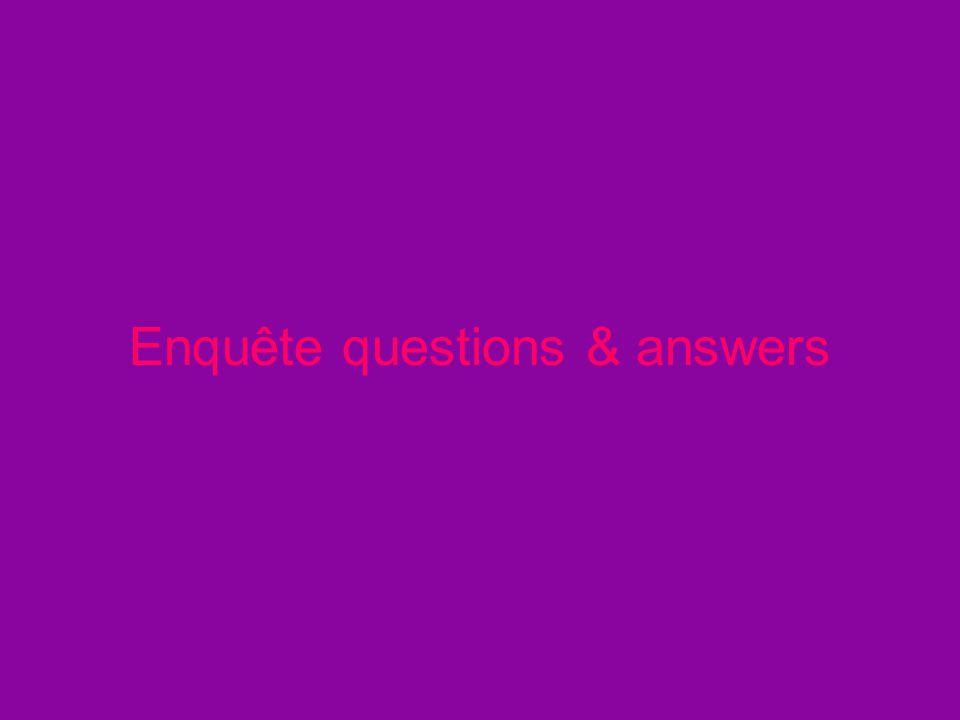 Enquête questions & answers