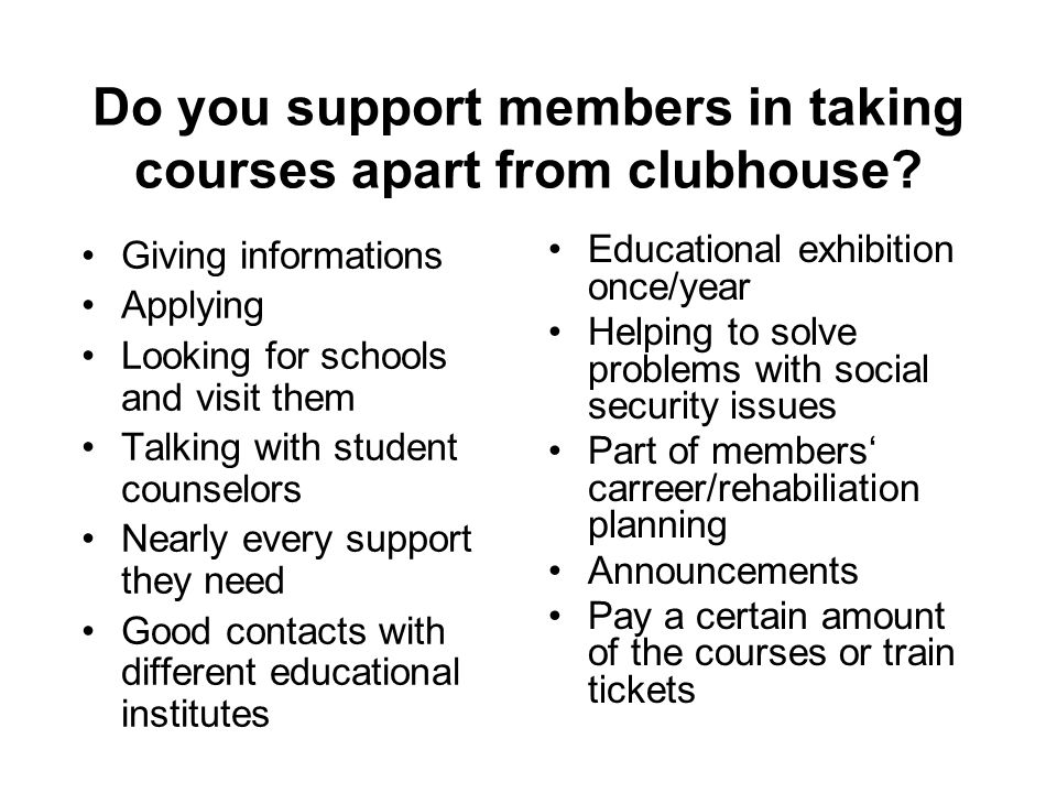 Do you support members in taking courses apart from clubhouse? Giving informations Applying Looking for schools and visit them Talking with student co