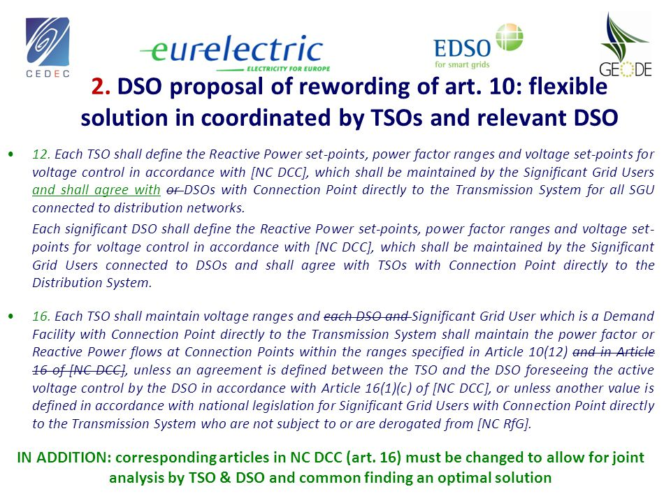 2. DSO proposal of rewording of art.
