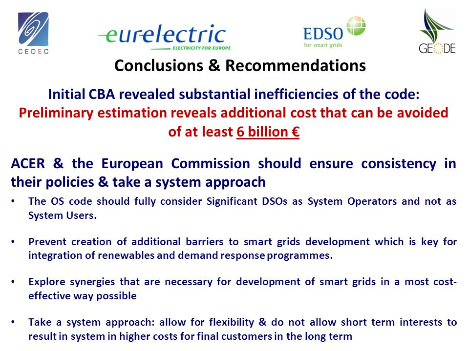 Conclusions & Recommendations Initial CBA revealed substantial inefficiencies of the code: Preliminary estimation reveals additional cost that can be avoided of at least 6 billion € ACER & the European Commission should ensure consistency in their policies & take a system approach The OS code should fully consider Significant DSOs as System Operators and not as System Users.