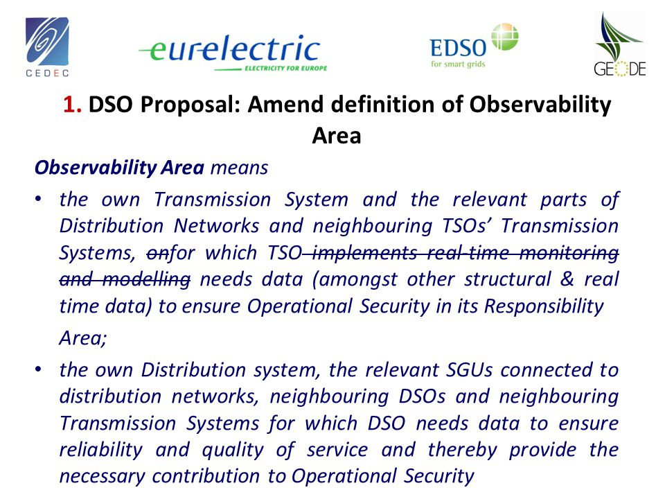 Observability Area means the own Transmission System and the relevant parts of Distribution Networks and neighbouring TSOs' Transmission Systems, onfor which TSO implements real-time monitoring and modelling needs data (amongst other structural & real time data) to ensure Operational Security in its Responsibility Area; the own Distribution system, the relevant SGUs connected to distribution networks, neighbouring DSOs and neighbouring Transmission Systems for which DSO needs data to ensure reliability and quality of service and thereby provide the necessary contribution to Operational Security 1.