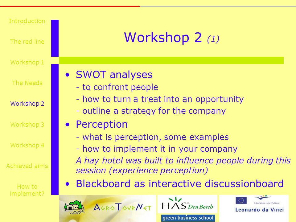 Workshop 2 (1) SWOT analyses - to confront people - how to turn a treat into an opportunity - outline a strategy for the company Perception - what is