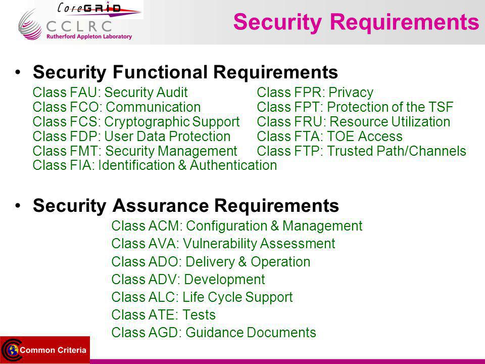 Security Requirements Security Functional Requirements Class FAU: Security Audit Class FPR: Privacy Class FCO: Communication Class FPT: Protection of the TSF Class FCS: Cryptographic SupportClass FRU: Resource Utilization Class FDP: User Data ProtectionClass FTA: TOE Access Class FMT: Security ManagementClass FTP: Trusted Path/Channels Class FIA: Identification & Authentication Security Assurance Requirements Class ACM: Configuration & Management Class AVA: Vulnerability Assessment Class ADO: Delivery & Operation Class ADV: Development Class ALC: Life Cycle Support Class ATE: Tests Class AGD: Guidance Documents