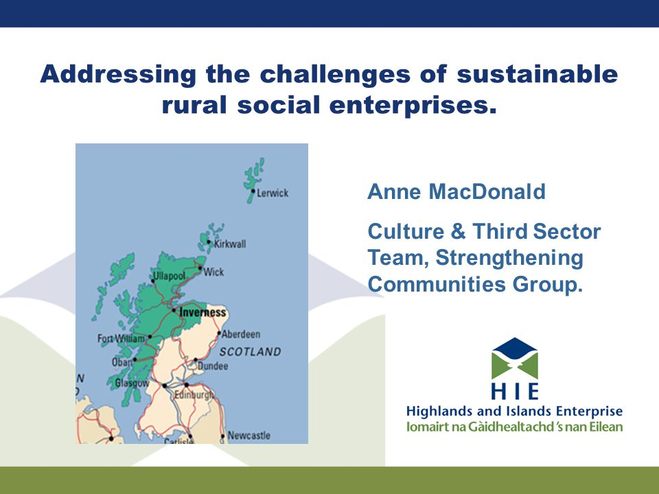 Addressing the challenges of sustainable rural social enterprises.