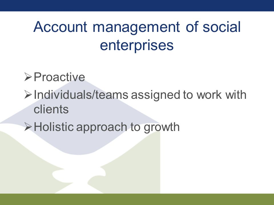 Account management of social enterprises  Proactive  Individuals/teams assigned to work with clients  Holistic approach to growth