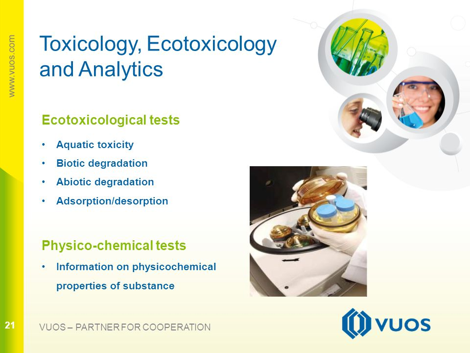 21 VUOS – PARTNER FOR COOPERATION Toxicology, Ecotoxicology and Analytics Ecotoxicological tests Aquatic toxicity Biotic degradation Abiotic degradation Adsorption/desorption Physico-chemical tests Information on physicochemical properties of substance