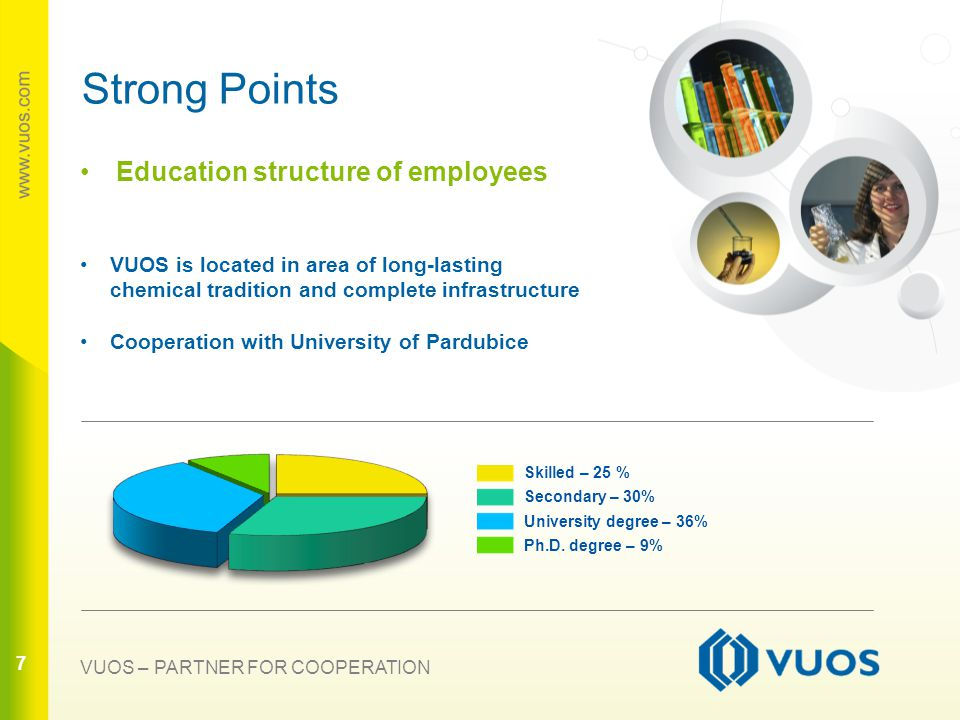 7 77 Strong Points Education structure of employees VUOS is located in area of long-lasting chemical tradition and complete infrastructure Cooperation with University of Pardubice Skilled – 25 % Secondary – 30% University degree – 36% Ph.D.