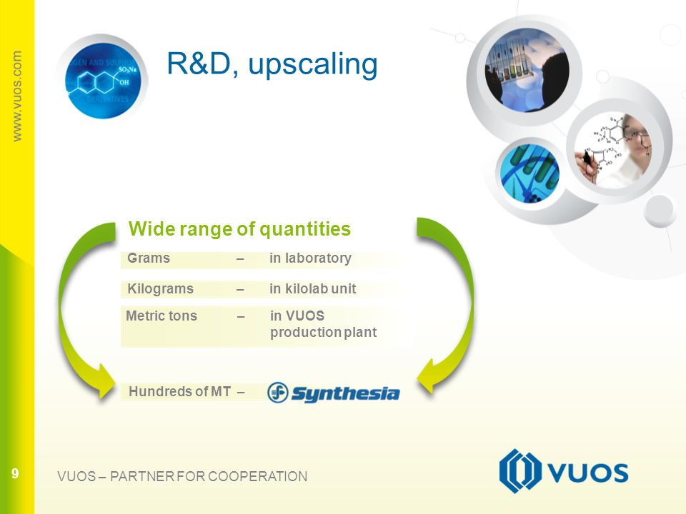 9 9 R&D, upscaling 9 VUOS – PARTNER FOR COOPERATION Wide range of quantities Grams – in laboratory Kilograms – in kilolab unit Metric tons – in VUOS production plant Hundreds of MT –