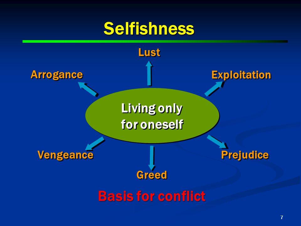 7 Selfishness Living only for oneself Living only for oneself Lust Exploitation Prejudice Greed Vengeance Arrogance Basis for conflict