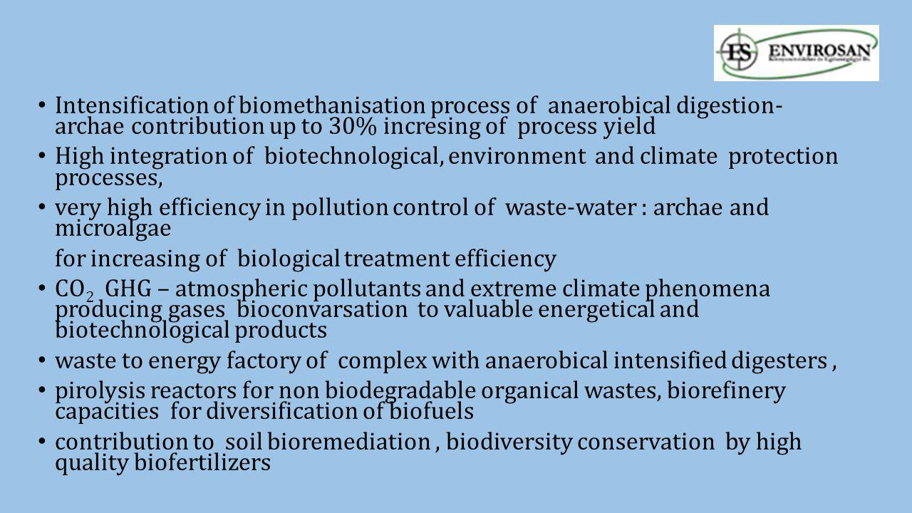 Intensification of biomethanisation process of anaerobical digestion- archae contribution up to 30% incresing of process yield High integration of bio