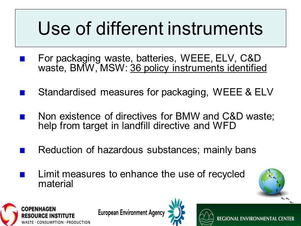 Use of different instruments For packaging waste, batteries, WEEE, ELV, C&D waste, BMW, MSW: 36 policy instruments identified Standardised measures for packaging, WEEE & ELV Non existence of directives for BMW and C&D waste; help from target in landfill directive and WFD Reduction of hazardous substances; mainly bans Limit measures to enhance the use of recycled material