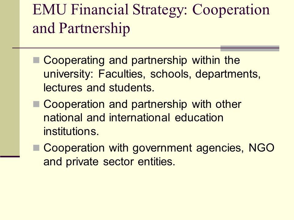 EMU Financial Strategy: Cooperation and Partnership Cooperating and partnership within the university: Faculties, schools, departments, lectures and students.