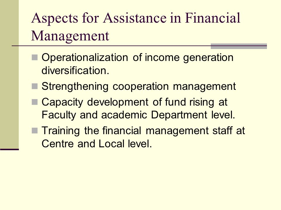 Aspects for Assistance in Financial Management Operationalization of income generation diversification.