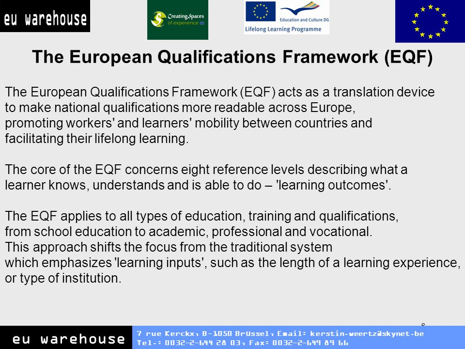 9 National Qualification Frameworks (NQR) 7 rue Kerckx, B-1050 Brüssel, Email: kerstin.weertz@skynet.be Tel.: 0032-2-644 28 03, Fax: 0032-2-649 89 66 eu warehouse National Qualifications Framework 'National Qualifications Framework' means an instrument for the classification of qualifications according to a set of criteria for specified levels of learning achieved, which aims to integrate and coordinate national qualifications subsystems and improve the transparency, access, progression and quality of qualifications in relation to the labour market and civil society.